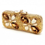 Set with semi-precious stones and crystals Jeweled floral magnetic clasp