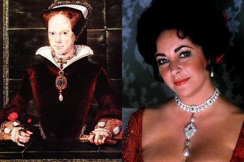 Cursed precious stones. Famous ladies wearing La Peregrina pearl