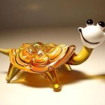 Funny turtle. Glass insect sculptures by American artist Wesley Fleming