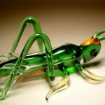 Grasshopper. Glass insect sculptures by American artist Wesley Fleming