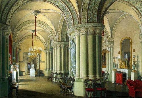 Gothic living room of grand duchesses. Hermitage. Artist Eduard Hau