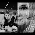 Audrey Hepburn in Breakfast at Tiffany's, portrait created from photos of Dietrich. Mosaic by Chinese photoartist Alex Guofeng Cao