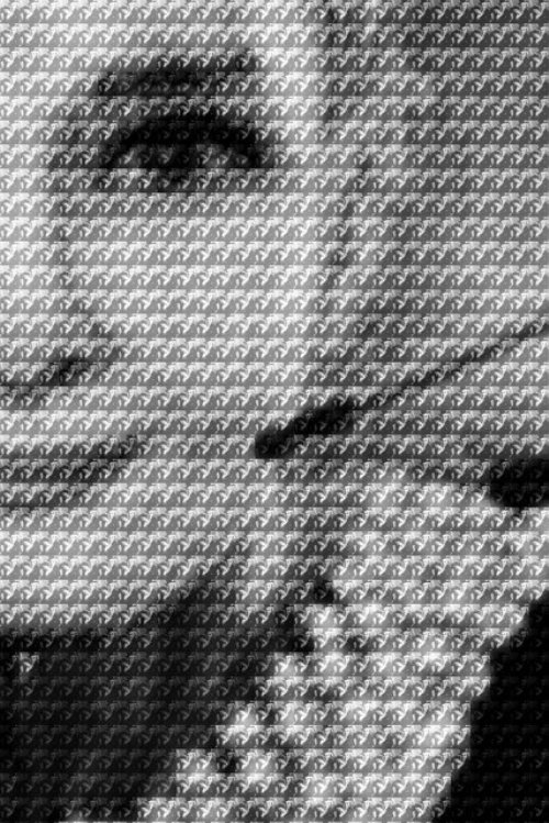 Hepburn vs Dietrich. Photomosaic by Chinese photoartist Alex Guofeng Cao