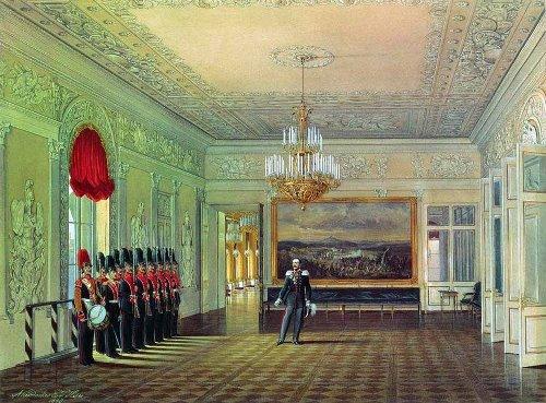 Interiors of the Winter Palace. Picket Hall. 1863 Watercolor. Hermitage. Artist Eduard Hau