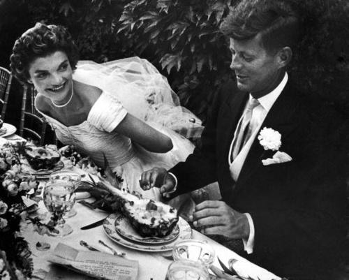 Jacqueline and John Kennedy on their wedding day, September 12, 1953