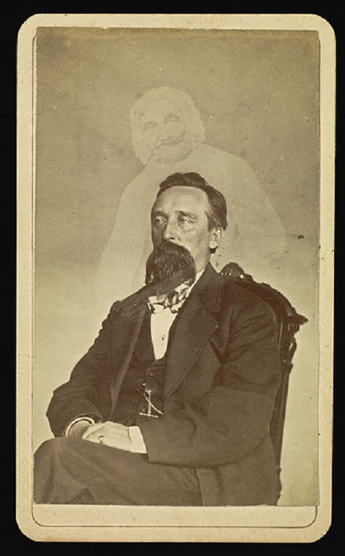 John J. Glover with ghost of old lady. A spirit photograph taken by William Mumler