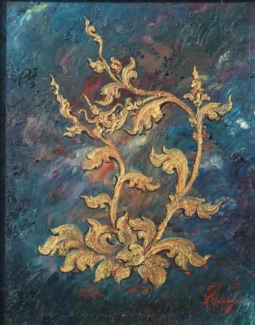 Khmer art painting Khmer flower