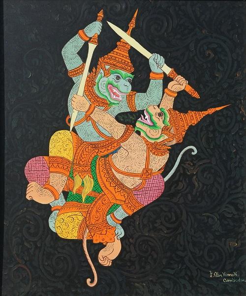 Khmer art painting monkey fighting