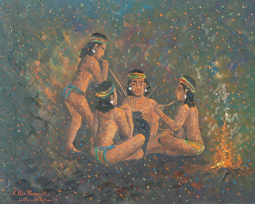 Khmer art painting people living in jungle