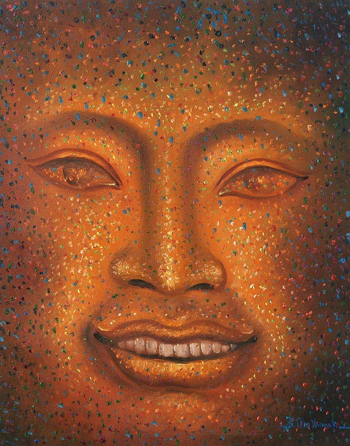 Khmer art painting smiling face