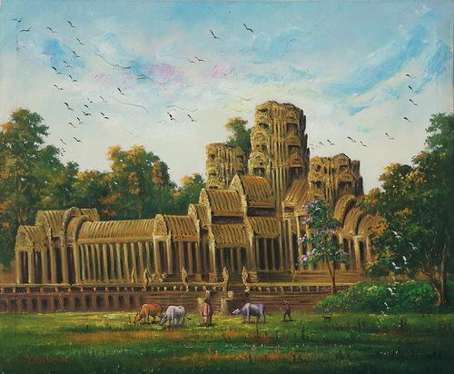 Khmer art painting Angkor wat temple