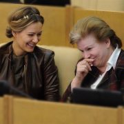 Left - Maria Kozhevnikova, right - first woman cosmonaut Valentina Tereshkova. State Duma, Moscow