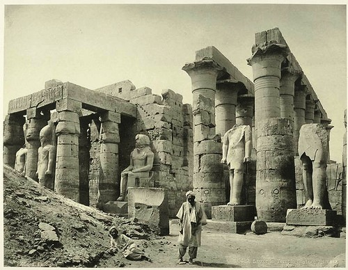 Luxor temple, the statues of Ramses. Egypt in retro photographs of 1870