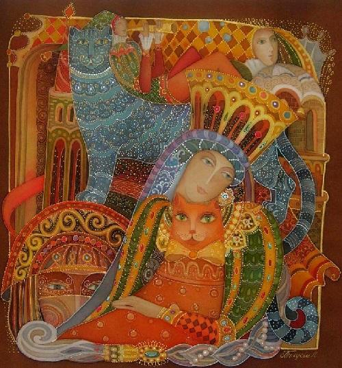 Fairy tale treasure. Painting on silk (batik) by Russian artist Lyubov Toscheva
