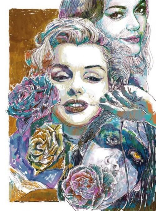 Marilyn Monroe. Fashion illustration by British artist David Downton