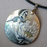 Chrysanthemum with a butterfly. mother of pearl natural, oil paints, Swarovski crystals, gold leaf, finishing varnish