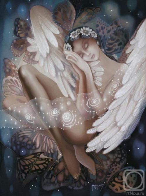 Painting on batik by Nadezhda Sokolova