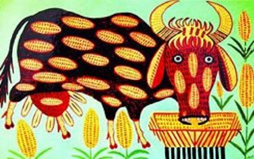 Naive painting by Maria Prymachenko, Ukrainian village folk art painter