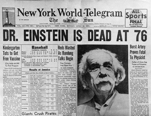 April 18, 1955. Newspaper Headline Announcing Death of Albert Einstein