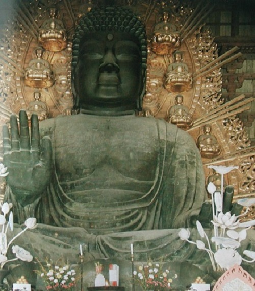 One of the large Buddha statues inside the massive Todai-ji temple in Nara