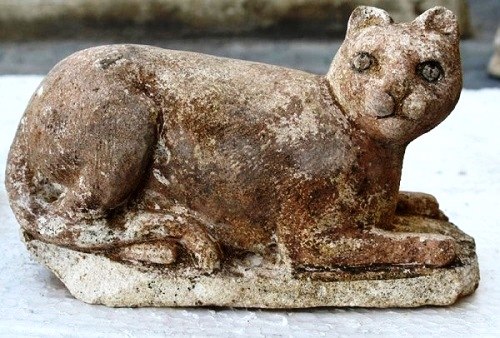 One of the six feline statues found in the temple of Bast in Alexandria