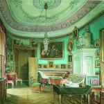 Oval Office of Emperor Paul I. Watercolor on paper. Hermitage. Artist Eduard Hau