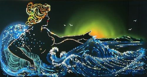 Painting decorated with Swarovski Crystals