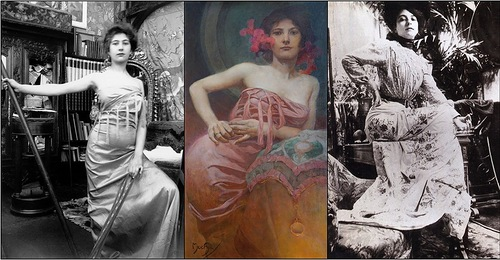 Photos of models taken by Alphonse Mucha for his paintings
