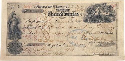 Purchase of Alaska, check Treasury Warrant United States