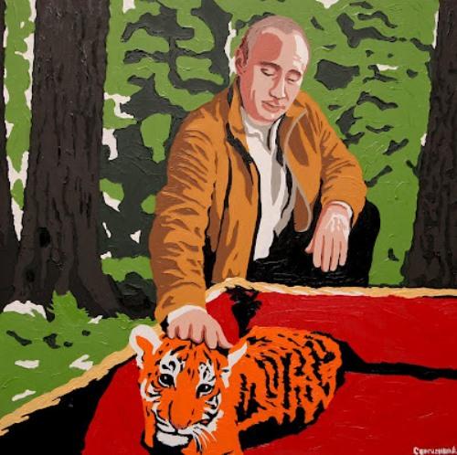 Putin and animals. Painting by artist Alexei Sergiyenko