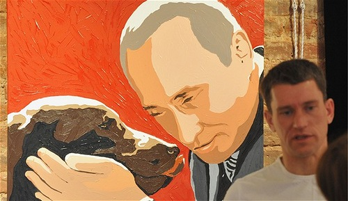 Putin and his adorable dog. Painting by artist Alexei Sergiyenko