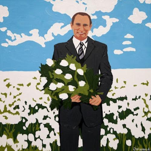 Kitsch art tribute to Vladimir Putin Russian artist Alexei Sergiyenko, St. Petersburg