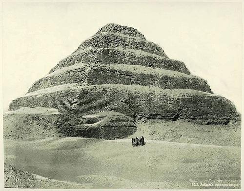 Pyramid of Saqqara. Egypt in retro photographs of 1870