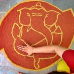 Rangoli design - traditional decorative folk art in India