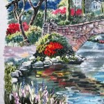 Detail of painting Spring in New York, based on the same picture by Robert Peyman. Author's development of the plot in embroidery with ribbons