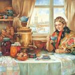 Artist Vasily Nesterenko (b. 1967). Tea srinking