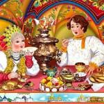 "Book illustration ""Tea drinking with Samovar"
