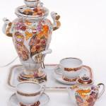 Porcelain tea set with samovar