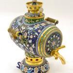 Stunning painted barrel-shaped Samovar