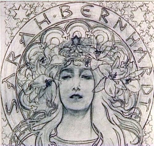 Sarah Bernhardt sketch. Art Nouveau painter Alphonse Mucha