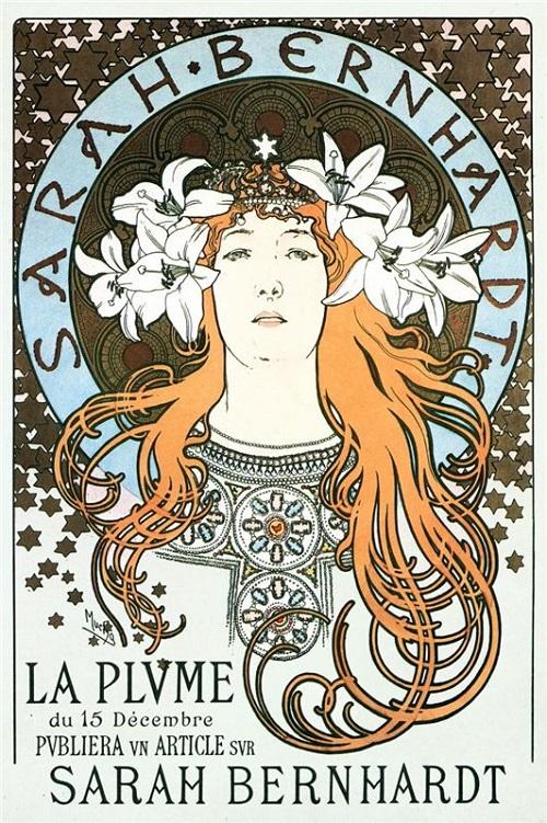 Sarah Bernhardt. Czech Art Nouveau painter Alphonse Mucha