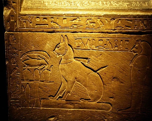 Sarcophagus of Ta-Miou, cat of Prince Thutmose. 14. BC. XVIII dynasty, reign of Amenhotep III