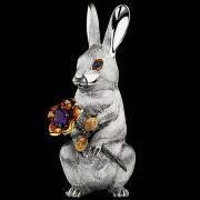 Sculpture Rabbit with flowers. Ruby sapphire, amethyst, silver