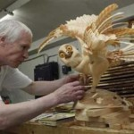 Work in progress. Life-size wooden sculpture of owl by Sergey Bobkov