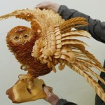 Owl Life-size wooden sculpture by Sergey Bobkov