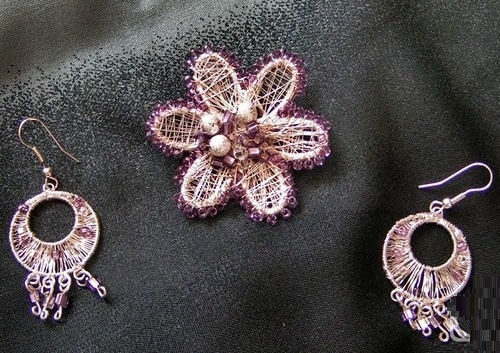 Set 'Violet' - silver-plated wire, metal base, Czech and Japanese seed beads, glass beads