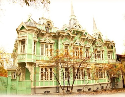 Wooden houses of Siberian town Tomsk