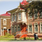 Old wooden houses in the Siberian city of Tomsk