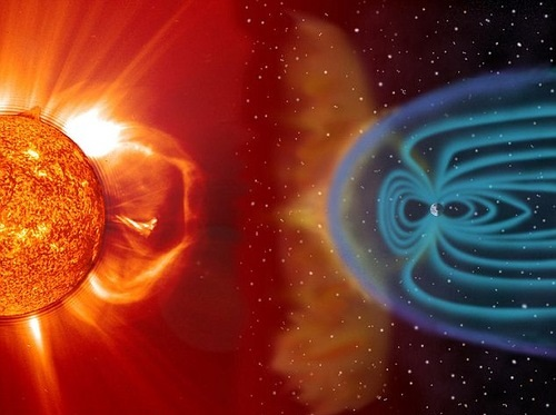 Solar wind shapes the Earth's magnetosphere and magnetic storms are illustrated here as approaching Earth