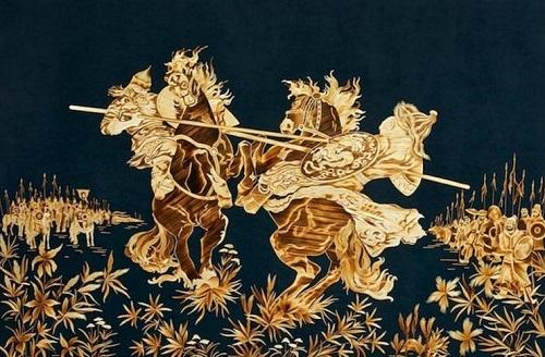 Straw paintings by Russian artist Valery Kozlov